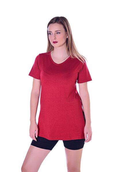 Kadın Kırmızı Yanları Yırtmaçlı Uzun T-shırt