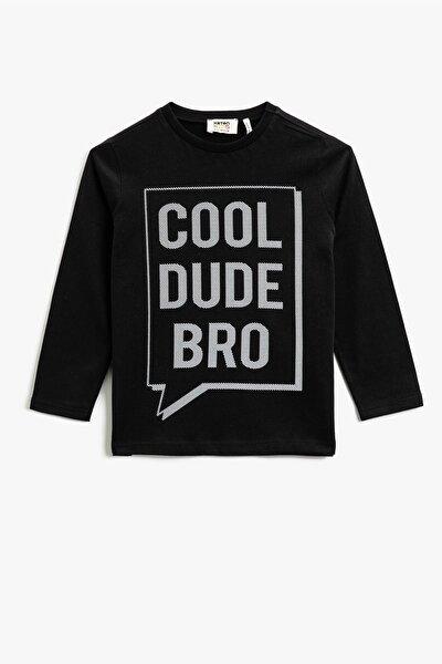 Erkek Çocuk Pamuklu Yazılı Baskılı Uzun Kollu T-shirt 1kkb16969ok