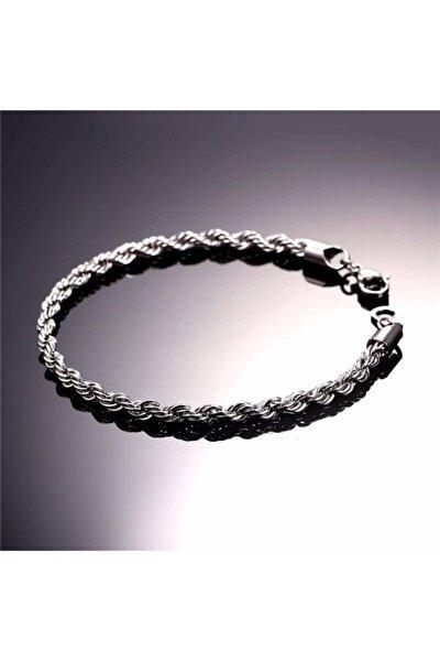 Erkek Beyaz Halat Burgulu Çelik Bileklik Künye Nck15