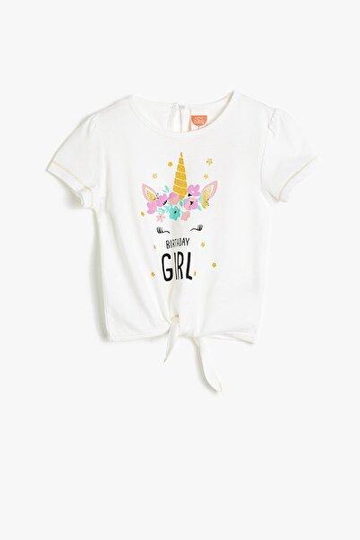 Kız Bebek Ekru Koton Bel Bağlamalı Baskılı T-shirt 0ymg19971zk
