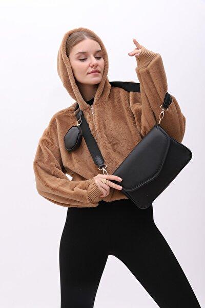 Cüzdanlı Çanta Ashley Siyah