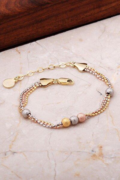 Kadın Dorissa Altın Yaldızlı Rose Gümüş Bileklik