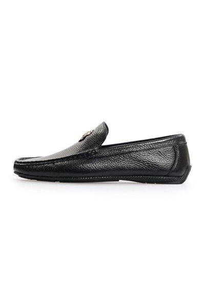 Siyah Deri Toka Detaylı Loafer Ayakkabı