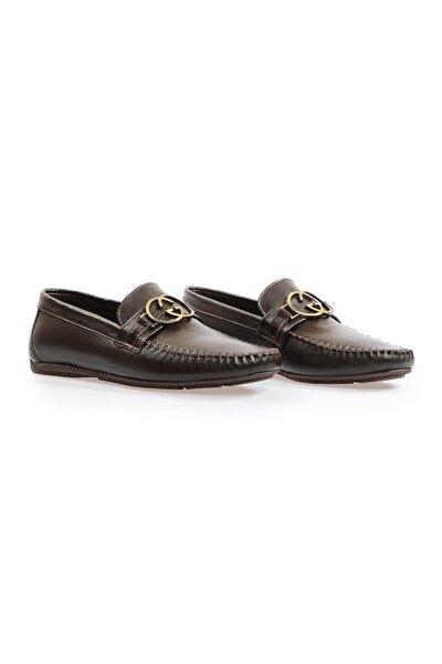 Kahve Deri Toka Detaylı Loafer Ayakkabı