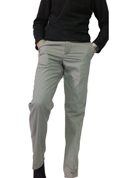 Erkek Açık Gri Keten Klasik Kesim Pantolon