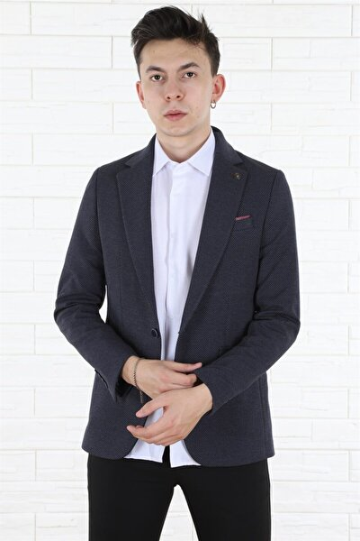 Erkek Tek Düğmeli Cepli Blazer Slim Fit Mavi Ceket