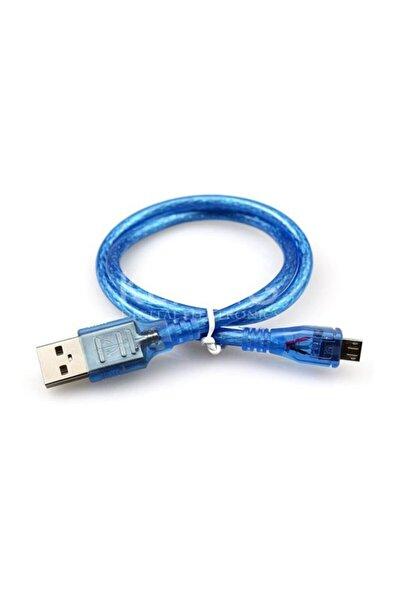Samsung Huawei Xiaomi Micro Usb Şarj Data Kablosu - 50cm - Mavi Şeffaf
