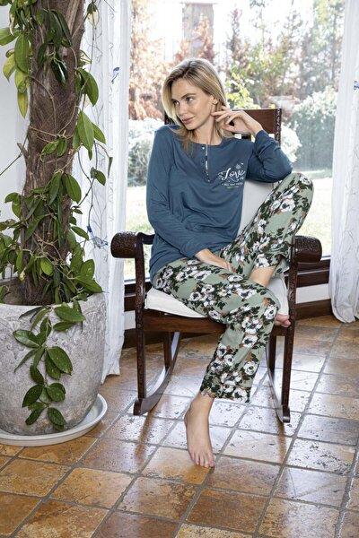 Kadın Poplin Uzun Kollu Pijama Takımı