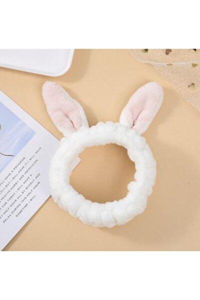 Tavşan Kulaklı Saç Bandı Mercan Peluş Saç Bandı Beyaz