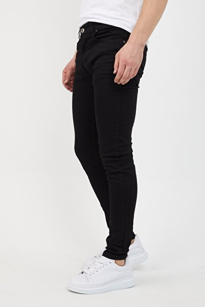 Erkek Siyah Slim Fit Likralı Dar Paça Kot Pantolon