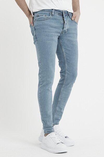 Erkek Açık Mavi Slim Fit Likralı Dar Paça Kot Pantolon