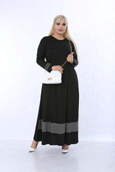 Kadın Siyah Büyük Beden Ekose Detaylı Viskon Elbise