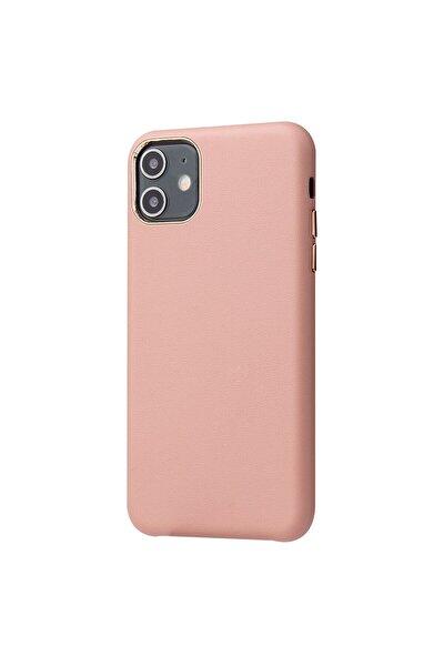 """Apple Iphone 11 (6.1"""") Kılıf Eyzi Deri Dış Kadife Iç Yüzey Arka Kapak Pembe"""