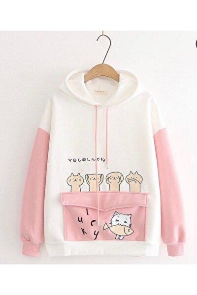 Pembe Beyaz Kedicikli Sweatshirt