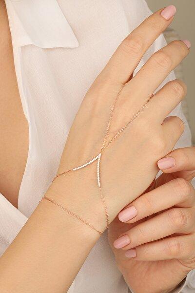 Kadın Rose Zirkon Taşlı V Model 925 Ayar Gümüş Şahmeran