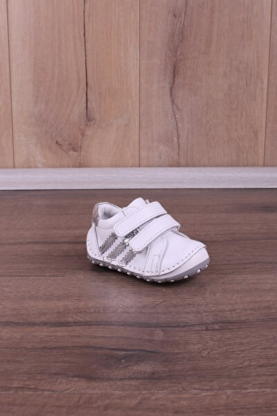 Ortopedik Deri El Işçiliği Ilk Adım Bebek Ayakkabı Beyaz Gümüş