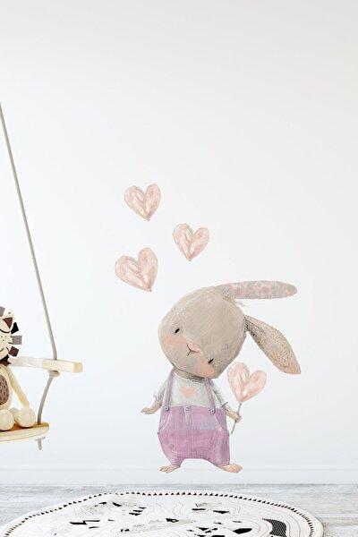 Sevimli Kalpli Tavşan Pembe Tulumlu Duvar Sticker Seti