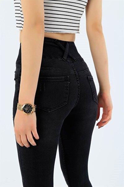 Kadın Siyah Yüksek Bel Jean Likralı Pantolon