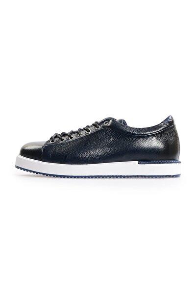 Lacivert Deri Bağcıklı Erkek Sneakers