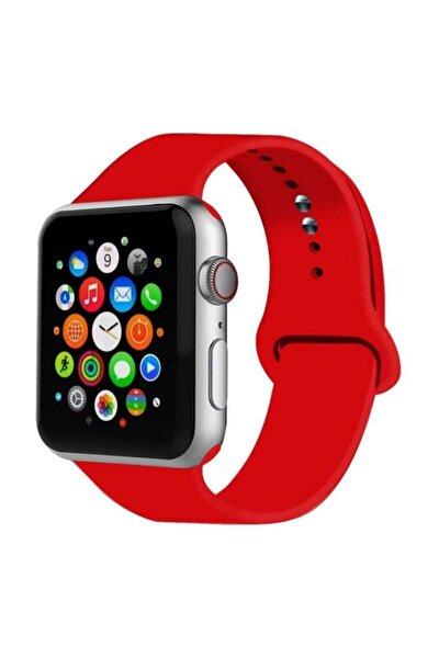 Apple Watch Kordon 42mm 44mm Silikon Kırmızı Kordon