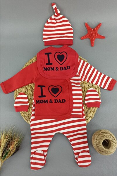 Kırmızı I Mom Dad Yazılı Bebek Hastane Çıkışı Yeni Doğan 5 Li Zıbın Set