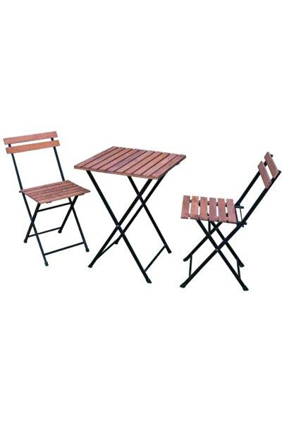 2 Kişilik Bistro Katlanır Ahşap Bahçe Balkon Masa Sandalye Takımı