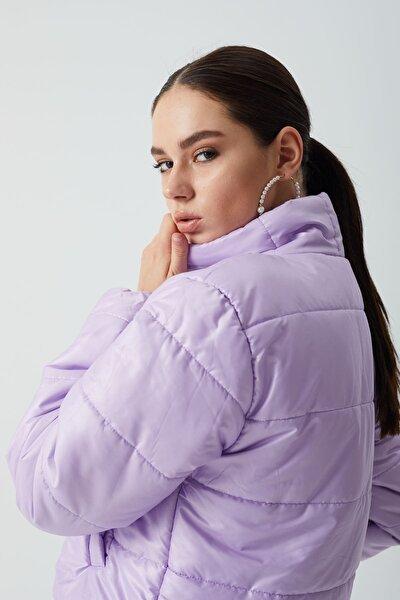 Kadın Lila Fashion Şişme Kısa Mont