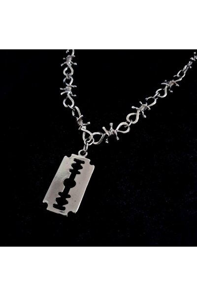 Gri Dikenli Tel Jilet 60 Cm Zincirli Metal Kolye