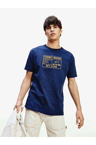 Erkek Mavi T-Shirt Tjm Gold Embroıdery Logo Tee DM0DM07848