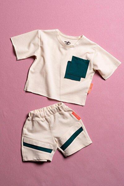 Unisex Bebek Bej Renkli Cepli 2 Parça Takım