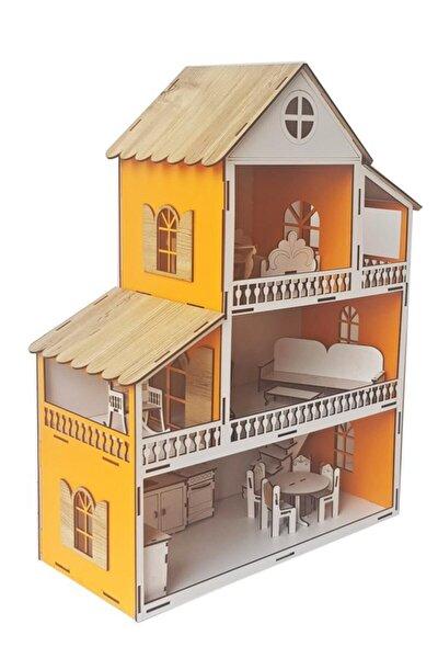 Turuncu Ev Çocuk Evcilik Oyuncak Montessori Barbi Ev
