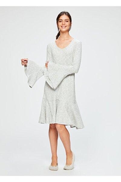 Gri Melanj V Yaka Kalın Fayn Kadın Sabahlık Ev Elbisesi