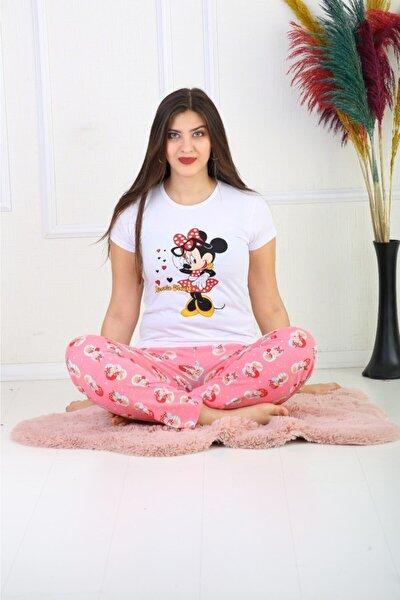 Kadın Üstü Beyaz Baskılı Altı Desenli Pijama Takımı