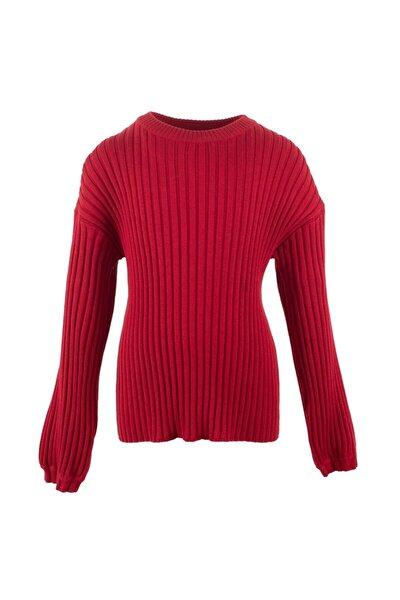 Kırmızı Renkli Fitilli Genç Kız Triko Kazak | T 315040