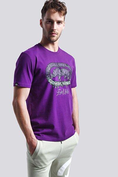 Eckots Newyork Mor Erkek Baskılı Bisiklet Yaka T-shirt