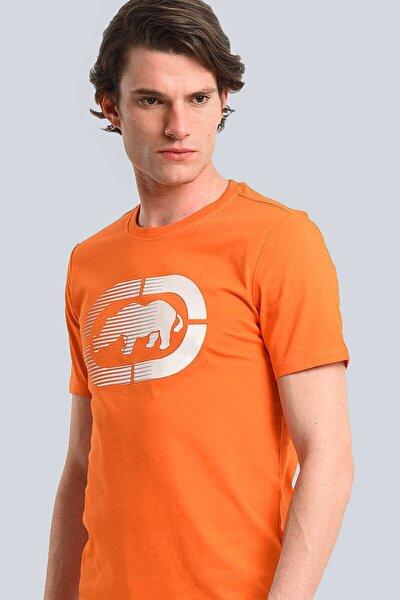 Logo Tee 2 Turuncu Erkek Baskılı Bisiklet Yaka T-shirt