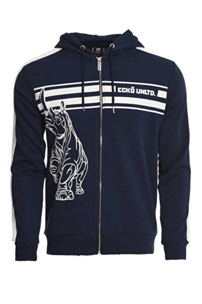 Henry Lacivert Erkek Baskılı Fermuarlı Sweatshirt