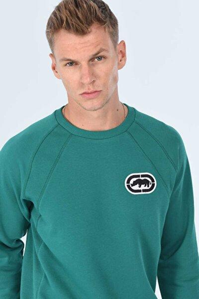 SLASS Yeşil Erkek Baskılı Bisiklet Yaka Sweatshirt