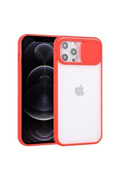"""Iphone 11 Pro Max 6.5""""  Uyumlu Kırmızı Kamera Lens Korumalı Sürgülü Kılıf"""