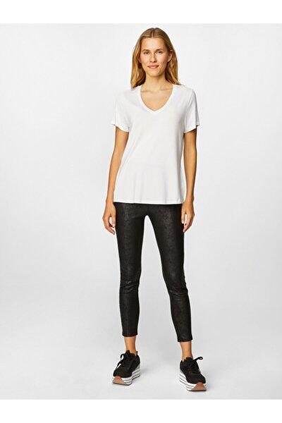 Kadın Beyaz V Yaka Kısa Kol T-shirt 00001