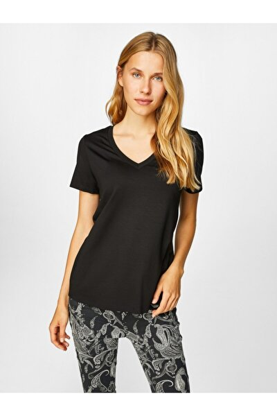 Kadın Siyah V Yaka Kısa Kol T-shirt 00001