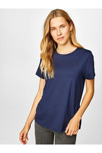 Kadın Lacivert Yuvarlak Yaka Kısa Kol T-shirt 00002