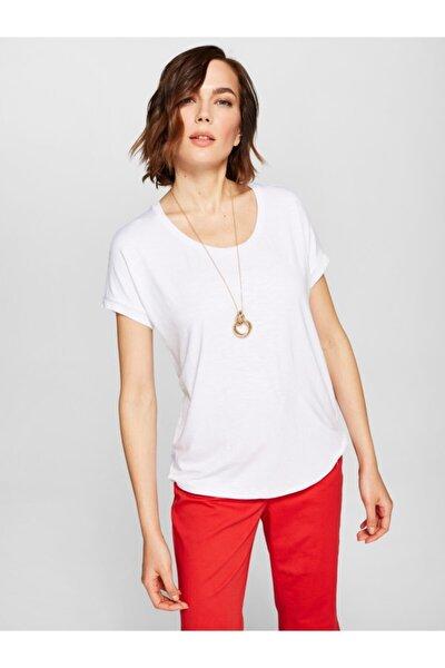 Kadın Beyaz Yuvarlak Yaka T-shirt 00008