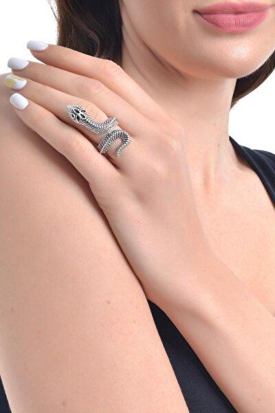 Kadın Antik Gümüş Kaplama Dolama Yılan Formlu Yüzük