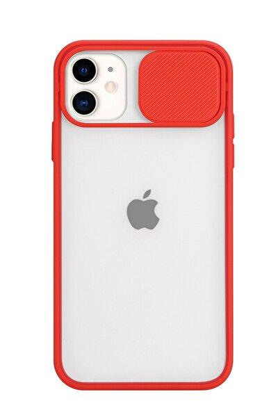 Iphone 11 Uyumlu Slayt Sürgülü Kamera Korumalı Renkli Silikon Kırmızı Kılıf