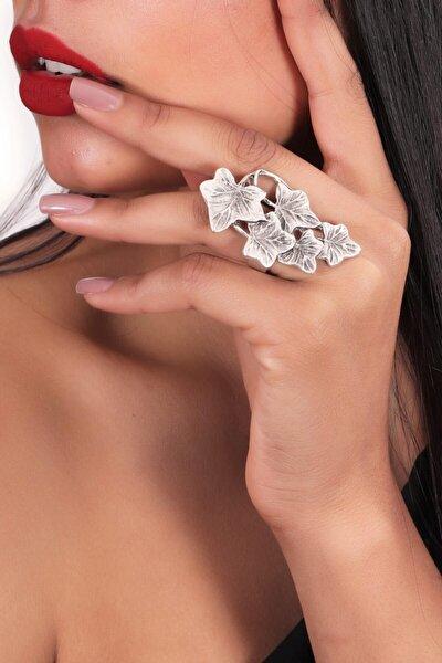 Kadın Antik Gümüş Kaplama Ayarlanabilir Yonca Stılizesi Yüzük