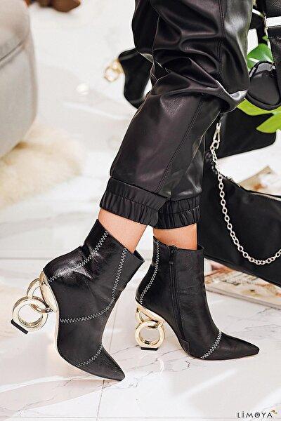 Diane Siyah Metalik Gold Topuklu Sivri Burun Bootie