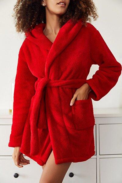Kadın Kırmızı Yumuşak Welsoft Çift Cepli Kapüşonlu Sabahlık 1KZK8-11193-04