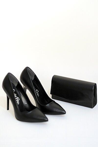 Kadın Siyah Cilt Ayakkbı Çanta Takım