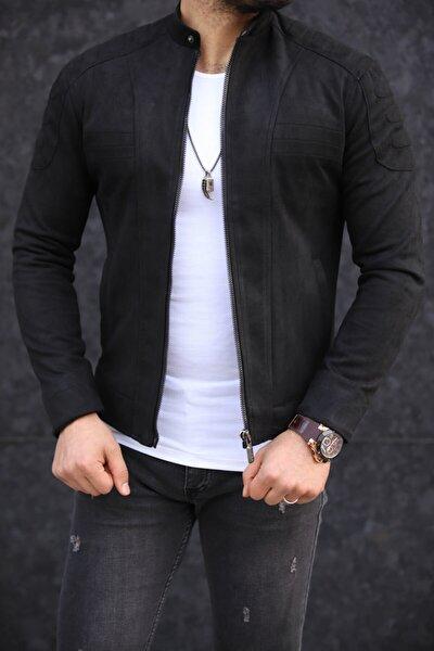 Siyah Yakası Düğmeli Nubuk Ceket